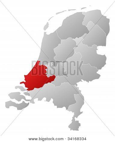 Karte von Niederlande, Zuid-Holland hervorgehoben