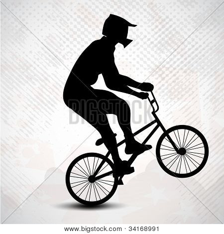 BMX cyclist performing stunt on grungy abstract background. EPS 10.