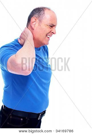 Man having a neck pain. Isolated on white.