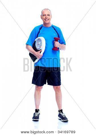 Fitness Mann. isoliert auf weißem Hintergrund.