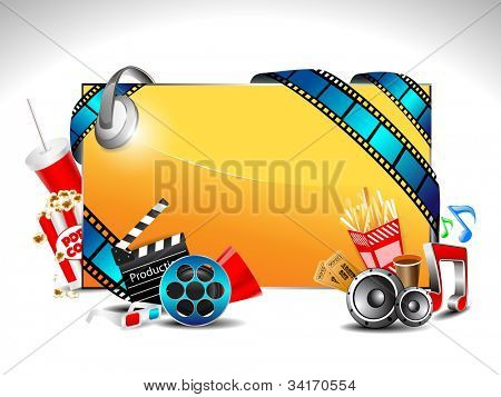 Vector illustration of promotion banner full of entertainment and cinema object with space for your text. EPS10