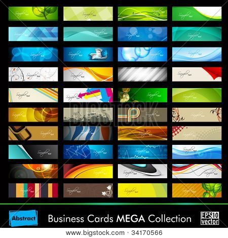 Mega collection of 40 abstract professional and designer business cards or visiting cards on different topic, arrange in horizontal. EPS 10.
