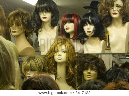 Manikin Heads In A Wig Store