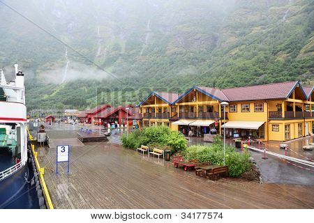 FLAM - JULE 25: Sognefjord port and railway station on Jule 25, 2011 in Flam, Norway. Norwegian longest and deepest fjord.
