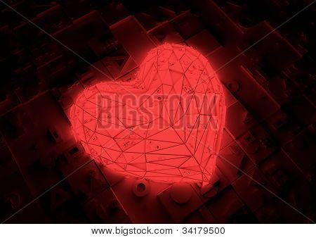 Futuristic red heart