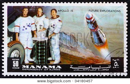 Postage stamp Manama 1972 Astronauts Scott, Worden and Irwin, Ap