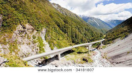 Arthurs Pass Viaduct highway, Southern Alps, NZ