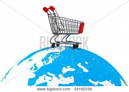 Shopping Cart Over The Earth
