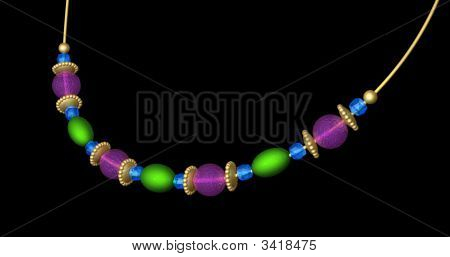 Beaded Necklace In Jewel Colors