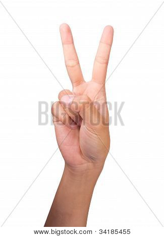 Image Of Counting Woman's Right Hands Finger Number (2)
