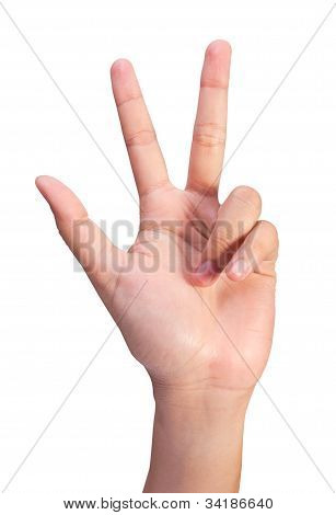 Image Of Counting Woman's Left Hands Finger Number (3 Or 8)