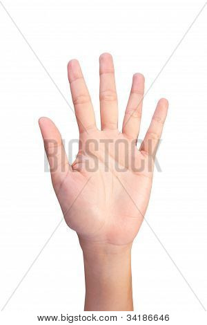 Image Of Counting Woman's Left Hands Finger Number (5  Or10)