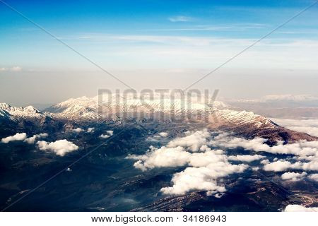 View Of The Mountains From The Plane