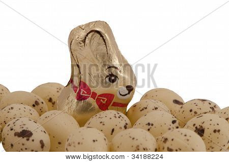 Chocolate Easter Bunny Candy  And Eggs Isolated