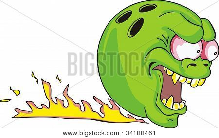 Green Bowling Ball With Flame