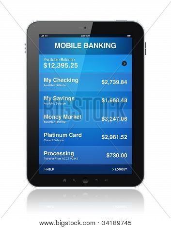 Mobile Banking auf digitale Tablet