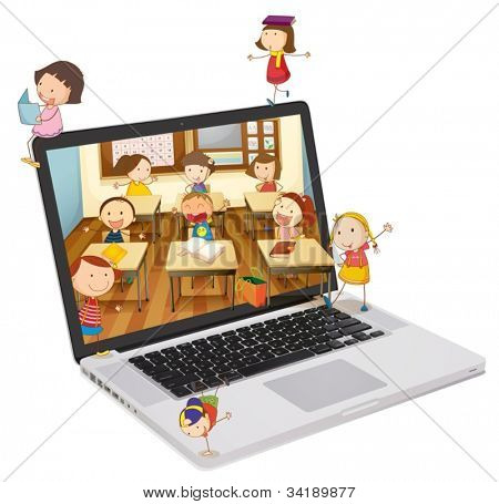 illustration of school students picture on a laptop