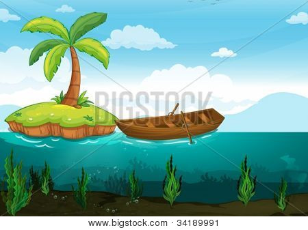 illustration of a plam tree and rowboat on a white background