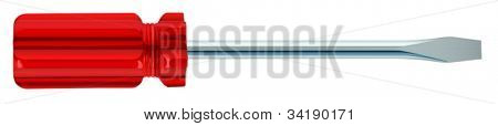illustration of red screwdriver on a white background
