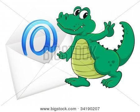illustration of a crocodile with mail envelop on a white