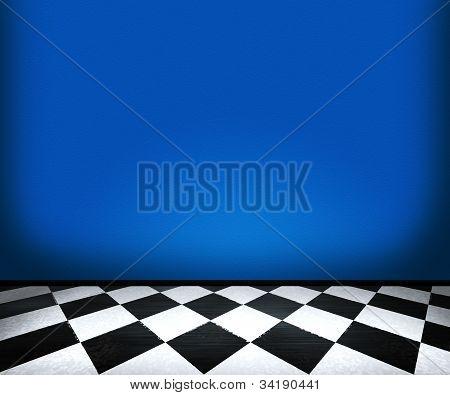 Chessboard Floor Tiles in Blue Room