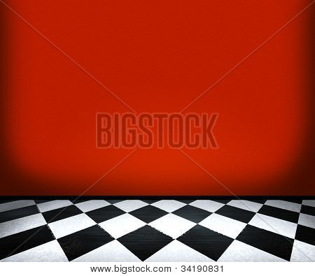 Chessboard Floor Tiles in Red Room