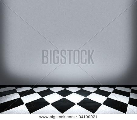 Chessboard Floor Tiles in Room