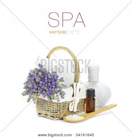lavender spa (fresh lavender flowers in a basket,  essential oil, salt,  Herbal massage balls) over white  (with easy removable text)