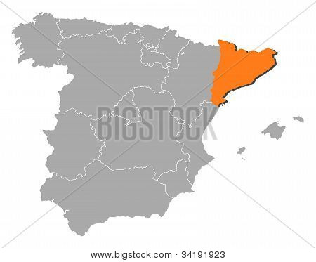 Map Of Spain, Catalonia Highlighted