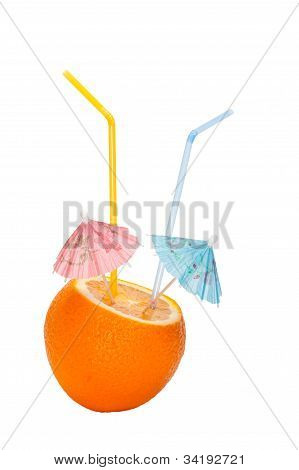 Orange Is Made An Incision With Umbrellas And Straws