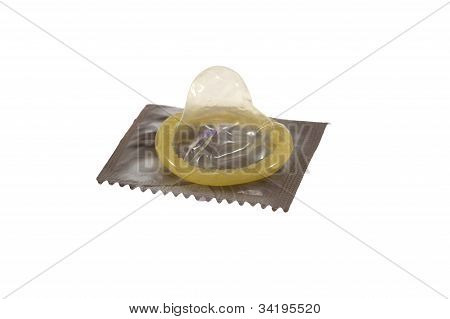 Condom lay on its package