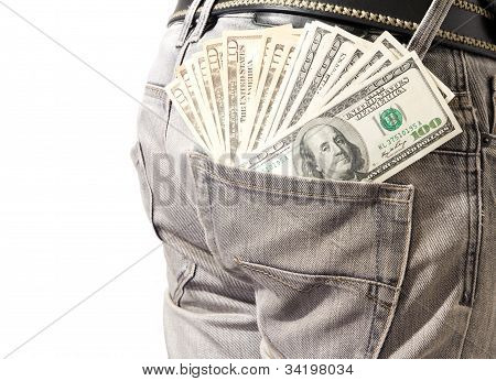 Dollar In His Back Pocket Blue Jeans.