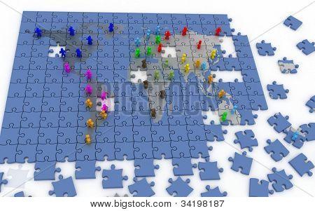 Red humana en mapamundi