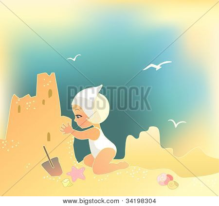 Girl Building Sandcastle