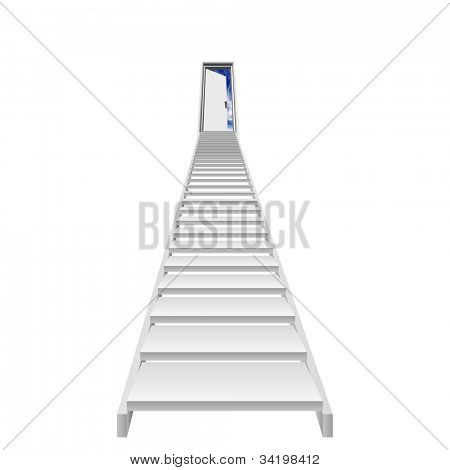 High resolution concept or conceptual 3d stair,a opened door to paradise or success isolated on white background with a blue sky,for religion,business,way,entrance,freedom,opportunity,progress or goal