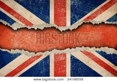 Grunge British flag on ripped paper