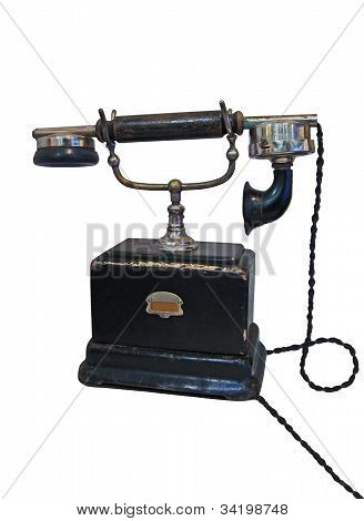 Vintage Retro Phone With Cable Isolated On White Background, Telephone History Details