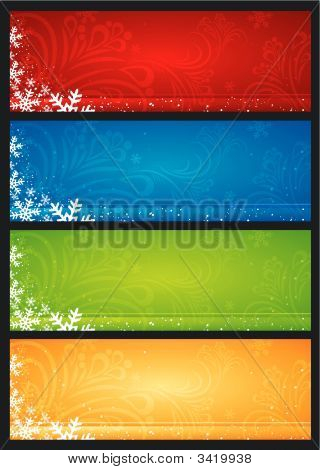Christmas Banners With Snowflakes, Vector
