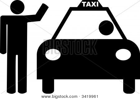 Stick Man Hailing A Taxi
