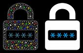 Glossy Mesh Password Lock Icon With Glare Effect. Abstract Illuminated Model Of Password Lock. Shiny poster