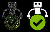 Glossy Mesh Valid Robot Icon With Glare Effect. Abstract Illuminated Model Of Valid Robot. Shiny Wir poster