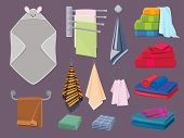 Textile Cottons. Fabric Blankets And Kitchen Rags Bathroom Hygiene Vector Colorful Cartoon Elements. poster