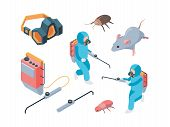 Pest Destruction. Fumigation Poison Controlling Pest Insects Service Vector Isometric. Illustration  poster