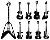 Guitar Silhouettes. Musical Instruments Black Symbols Acoustic And Rock Guitars Vector Set. Silhouet poster