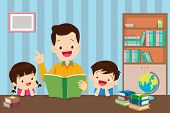 Young Father Reading A Book To Children. The Son And Daughter Listened To The Father, Reading The Bo poster