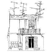 Sketch Of A European Authentic House With Antennas. Postcard For Print poster