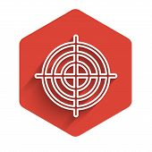 White Line Target Sport For Shooting Competition Icon Isolated With Long Shadow. Clean Target With N poster