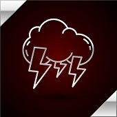 Silver Line Storm Icon Isolated On Dark Red Background. Cloud And Lightning Sign. Weather Icon Of St poster