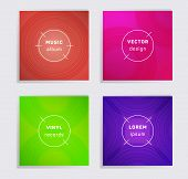Geometric Vinyl Records Music Album Covers Set. Semicircle Curve Lines Patterns. Futuristic Creative poster