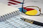 Accounting Business. Calculator With Accounting Report And Financial Statement poster